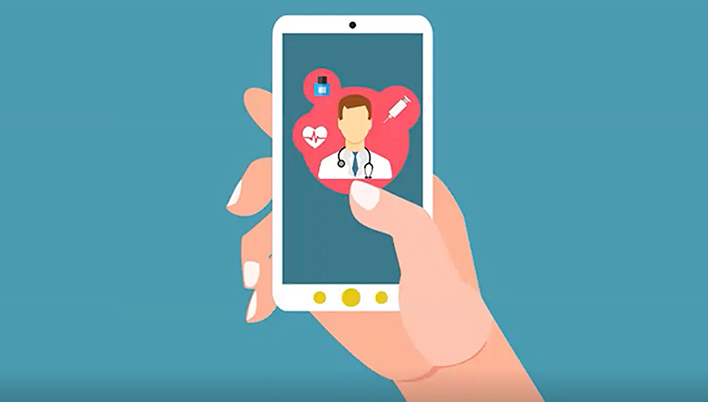 Telehealth on Mobile Illustration
